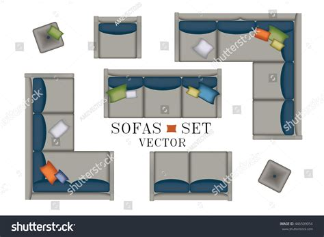 Sofa Top View Sofas Armchair Set Stock Vector 446509054