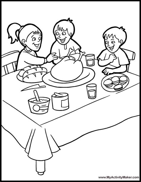 coloring page thanksgiving dinner free turkey dinner coloring pages