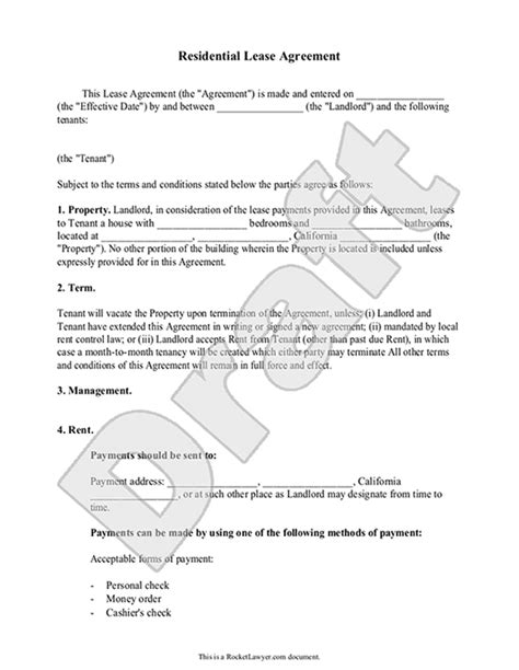 Lease Agreement Free Rental Agreement Form Contract No Shop Agreement Template