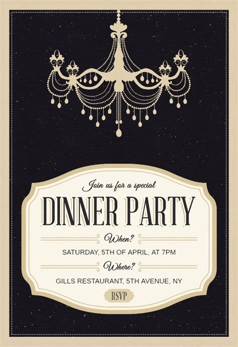 Classy Chandelier   Free Dinner Party Invitation Template