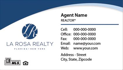La Rosa Realty Cards Templates by Select Your Business Card Business Cards International Inc