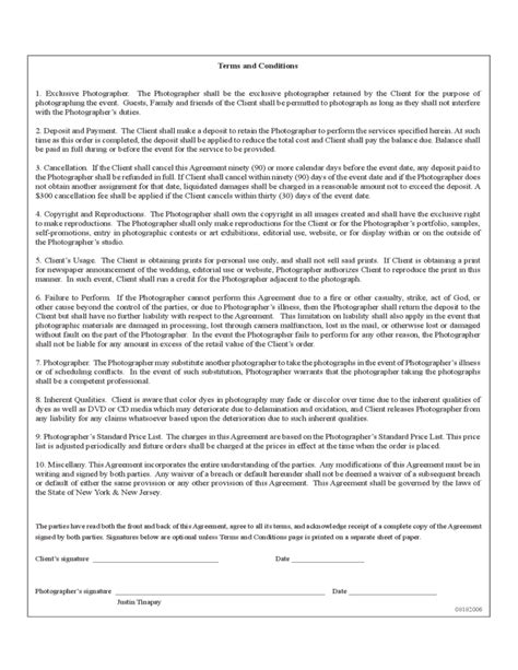 Agreement Letter For Photography Sle Photography Contract Free