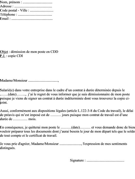 Exemple De Lettre De Démission En Cdd Modele Lettre De Demission Reduction Preavis Document