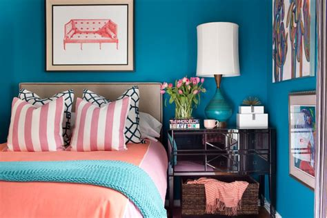 coral and teal bedroom a small bedroom packed with cool caribbean colors hgtv