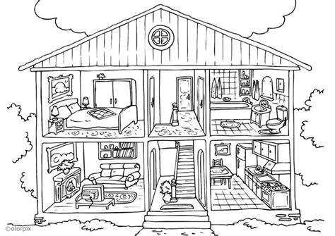 coloring pages big house disegno da colorare casa interno cat 25995