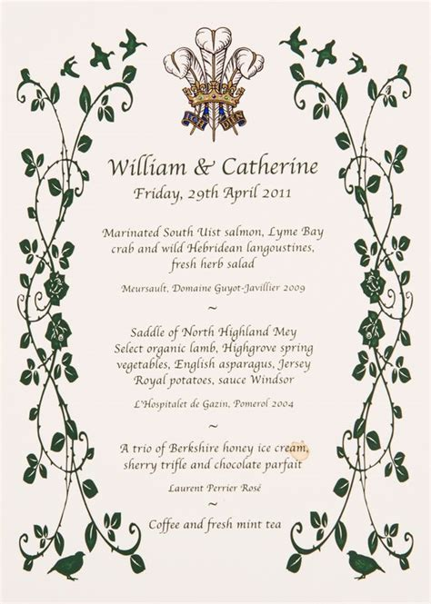 prince william and kate s wedding breakfast menu revealed