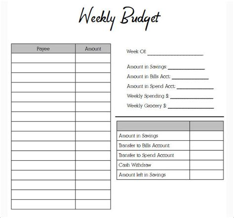 budget form template weekly budget templates word form pdf sle