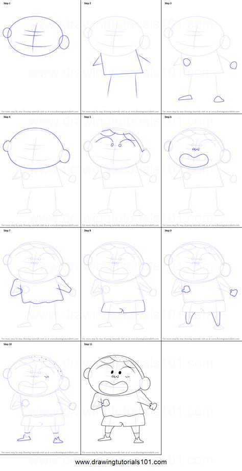 tutorial alis shinchan how to draw masao from shin chan printable step by step