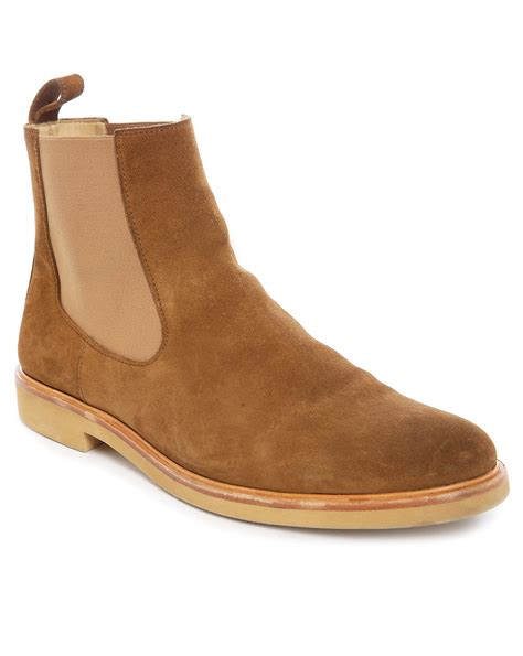 apc boots a p c suede chelsea boots in brown for lyst