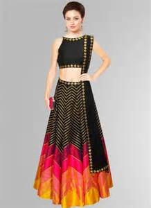 Table Linen Online - get fabfirfki black and pink stylish designer raw silk lehenga choli at best price 537723
