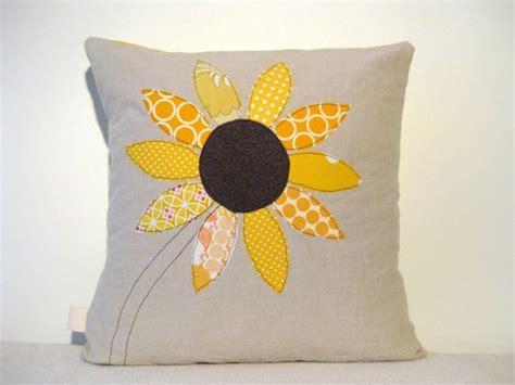 Bantal Sunflower yellow sunflower cushion cover free motion applique summer flower linen cotton 16 quot 40cm