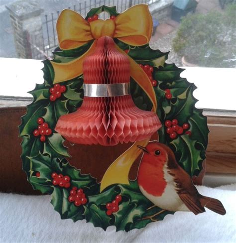 vintage christmas honeycomb paper decoration robin