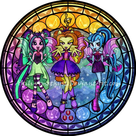 mlp nightmare moon stained glass stained glass dazzlings by akili amethyst on deviantart