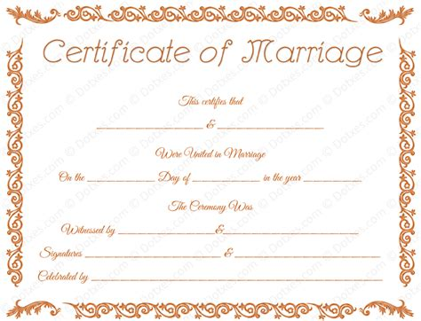 marriage certificate marriage certificate template doc printable marriage