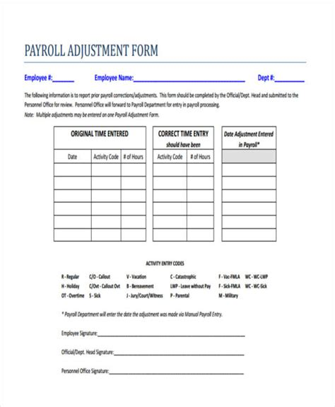 Sle Payroll Forms Payroll Correction Form Template