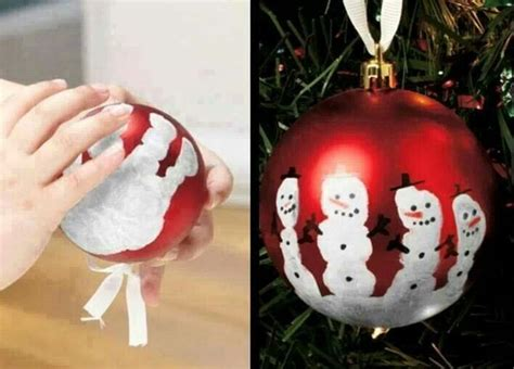 snowman handprint ornament craft winter pinterest