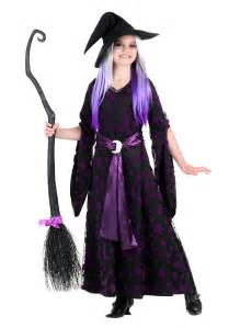 Haloween Costumes Girls Purple Moon Witch Costume