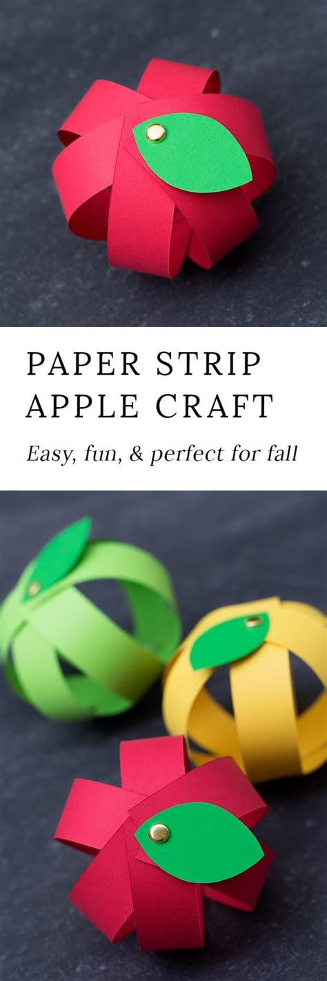 Paper Strips Crafts - easy paper apple craft for paper strips free