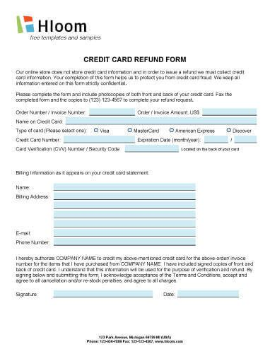 credit card refund form template credit card authorization forms hloom