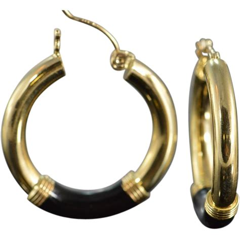 black onyx hoop earrings 14k yellow gold from rubylane