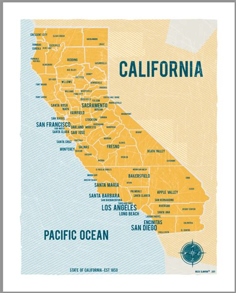 california map poster california map 16x20 yellow vintage style poster by