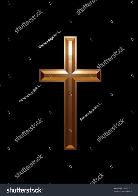 gold cross black background stock illustration