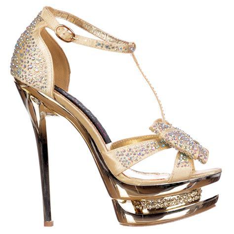 gold high heels shoes shoekandi diamante jewelled bow high heel