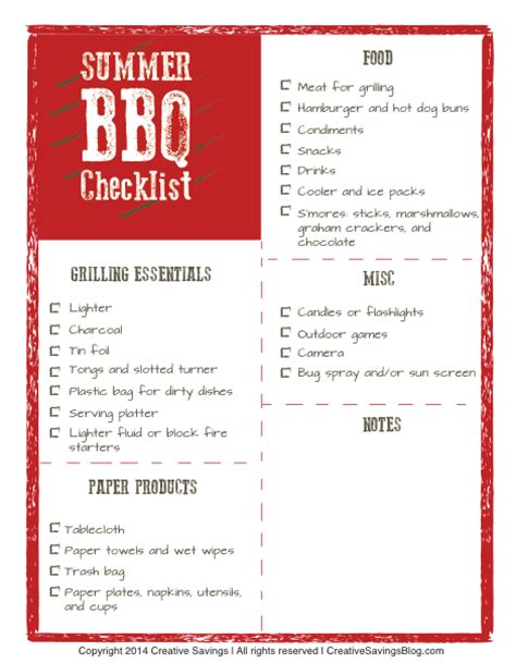 Checklist Of Things You Need For A Picnic by Free Summer Bbq Checklist Creative Savings