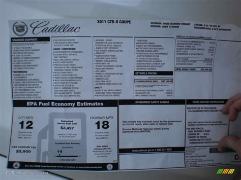 Cadillac Window Sticker