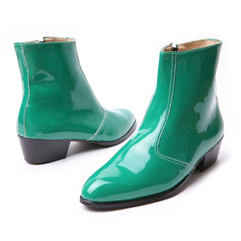 s synthetic leather glossy green side zip high heel