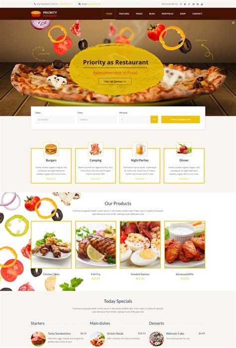 10 Entertainment Cafe And Restaurant Website Templates Restaurant Website Template