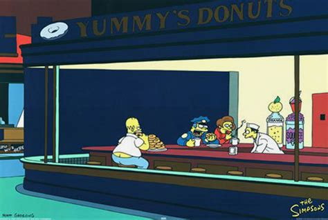 simpsons painting nighthawks by edward hopper and the simpsons