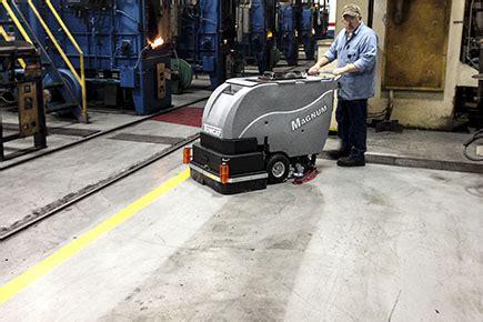 Concrete Floor Cleaning by Floor Scrubber Dryer Magnum Walk Commercial Floor