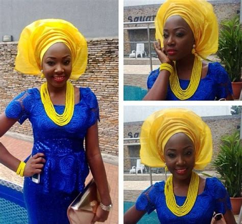 aso ebi style for blue and yellow colour royal blue and yellow aso ebi beautiful styles