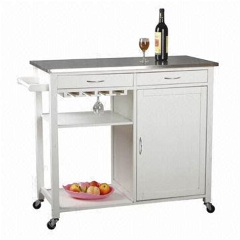 white kitchen trolley with towel hanger cabinet drawer