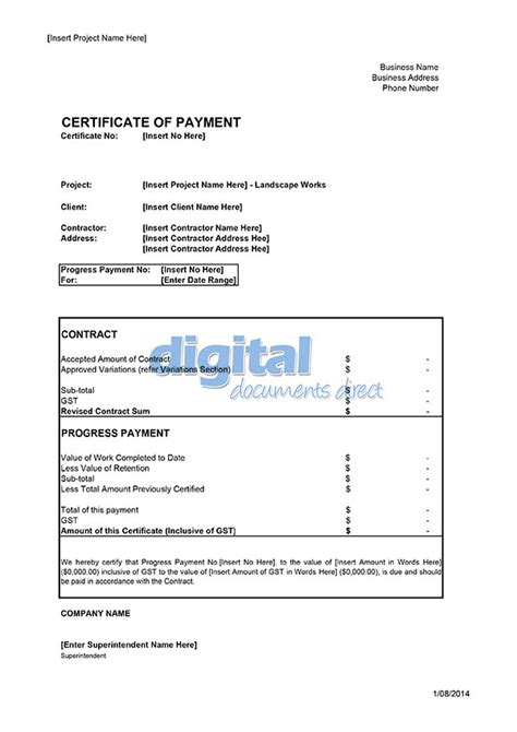 payment certificate template certificate of payment template digital documents direct