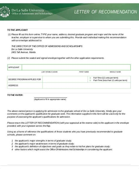 Dlsu Mba Entrance by 37 Sle Recommendation Letters In Pdf