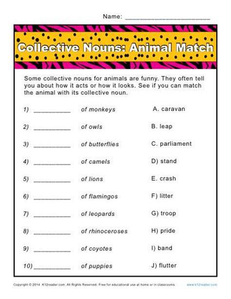 Collective noun worksheets animals match