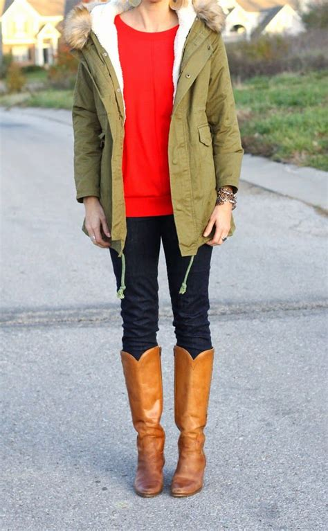 one little momma what i wore embroidered tunic and dark denim one little momma green parka red tunic vintage boots