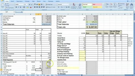 contractor spreadsheet template image gallery costing excel template