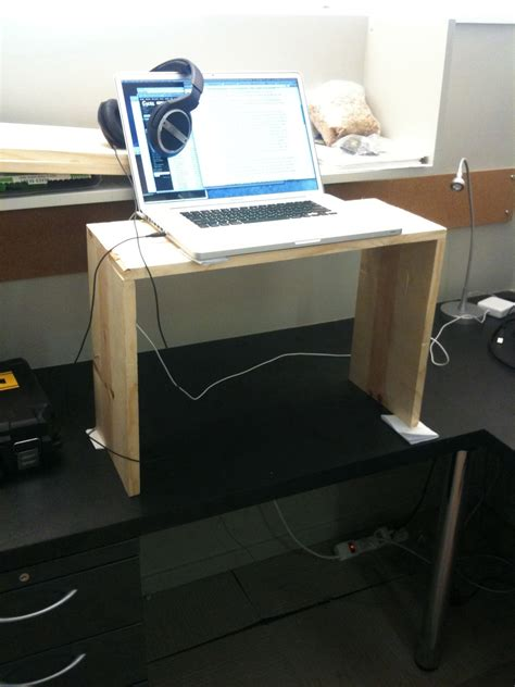 Diy Standing Desk For Laptop From Wood Box Minimalist How To Standing Desk