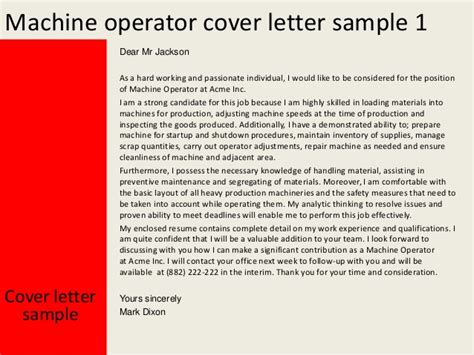 Resume Samples For Machine Operator by Machine Operator Cover Letter