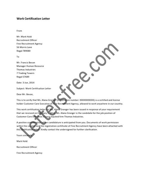 direct certification notification letter work certification letter is an official letter to certify