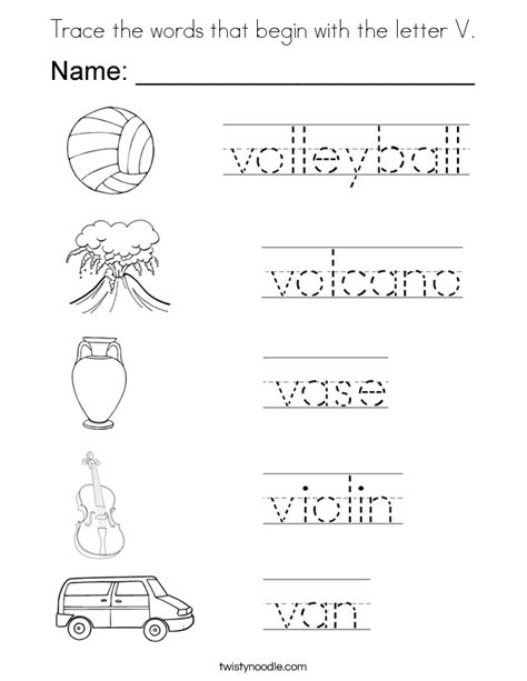 V Words Coloring Page by Trace The Words That Begin With The Letter V Coloring Page