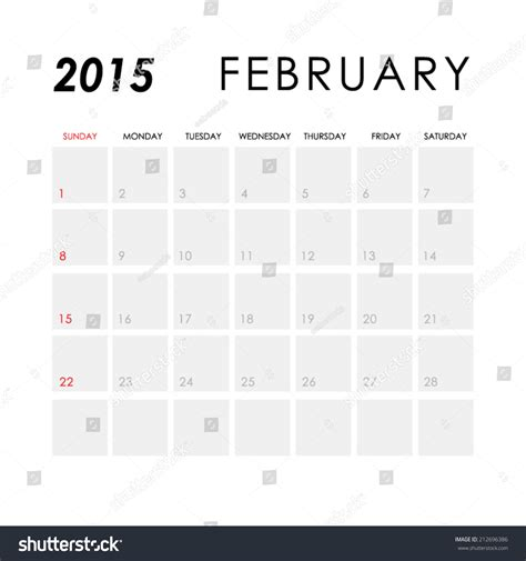 calendar february 2015 template template calendar february 2015 stock vector 212696386