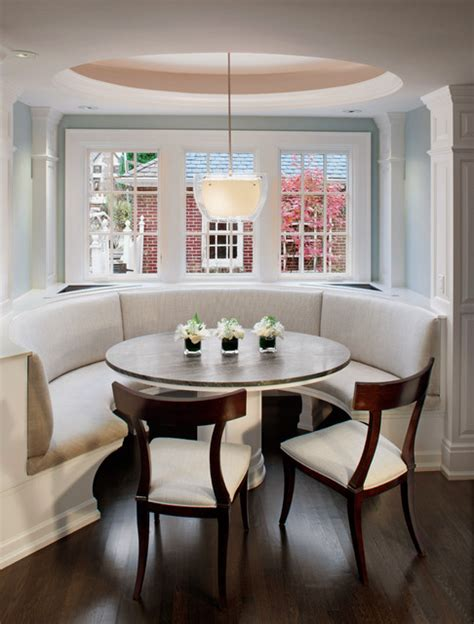 Breakfast Banquette Ideas by Curved Banquette Seat In Kitchen Traditional Kitchen