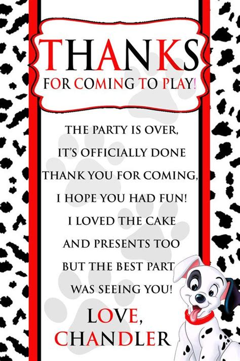 printable thank you cards dogs dalmatian dog birthday party thank you card personalized