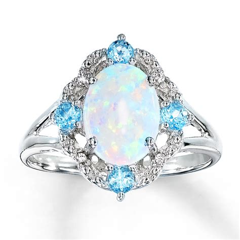 jared lab created opal ring with topaz and diamonds
