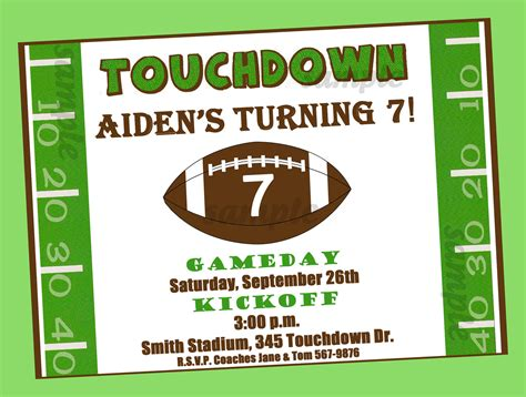 Football Invitation Template by Free Printable Football Birthday Invitations Free