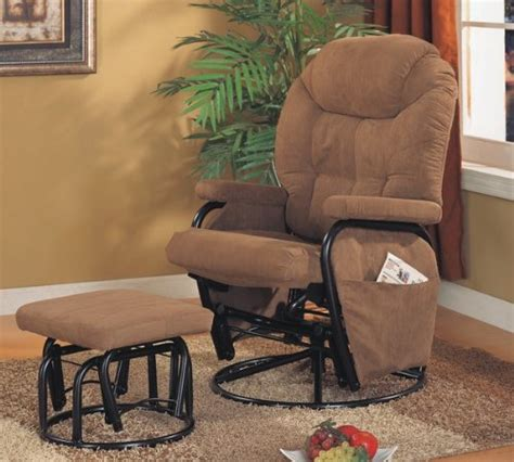 Microfiber Brown Glider Recliner Ottoman By Coaster Microfiber Glider Recliner With Ottoman